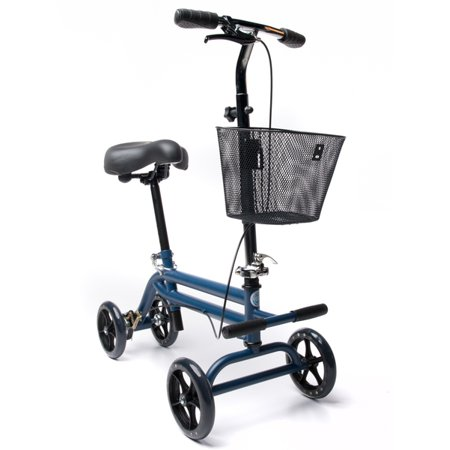 Knee Tilt Seat (KneeRover Evolution Steerable Seated Scooter Mobility Knee Walker Crutch Alternative with Basket in Blue )