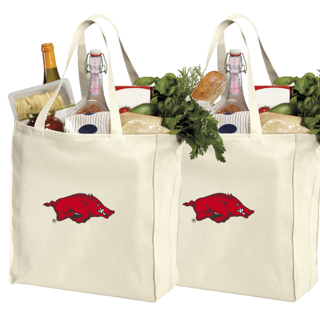 University of Arkansas Shopping Bags or Cotton Arkansas Grocery Bags - 2 Pc Set