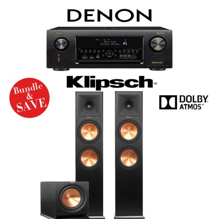 Denon AVR-X4400H 9 2-Channel 4K Network AV Receiver + Klipsch RP-280FA  (Black Vinyl) + Klipsch R-112SW - 2 1 2-Ch Dolby Atmos Home Theater Package