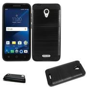 "Phone Case For Alcatel AVALON / Tracfone Alcatel TCL LX / Straight Talk Alcatel TCL LX Case / AT&T Alcatel IdealXtra Case / 1X Evolve (5.34"") Dual-Layered Cover (Slim Brush Black )"