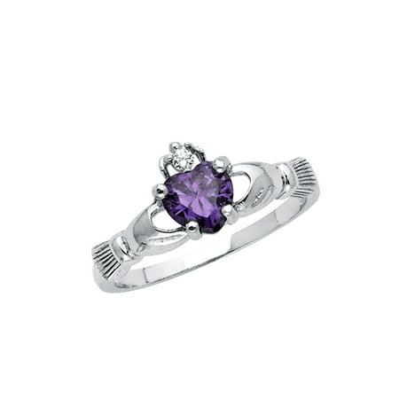 FB Jewels 925 Sterling Silver Heart Celtic Claddagh Friendship Purple Cubic Zirconia CZ Fashion Anniversary Ring Size 5.5](Purple Ring Pop)