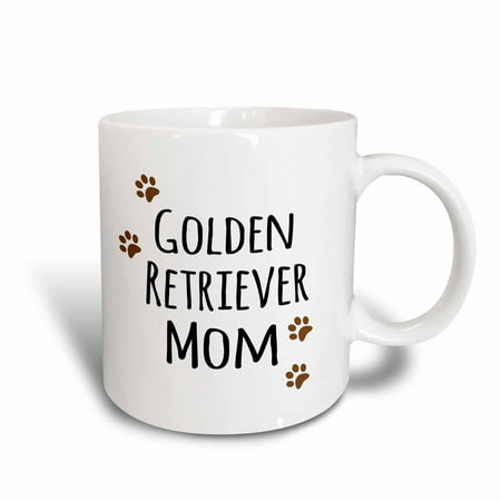 3dRose Golden Retriever Dog Mom - Doggie by breed - brown paw prints - doggy lover - proud pet owner love, Ceramic Mug, 15-ounce