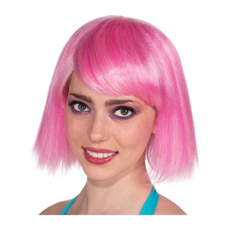 Adult Womens 80s Short Candy Chic Pink Rave Dance Costume Straight Wig