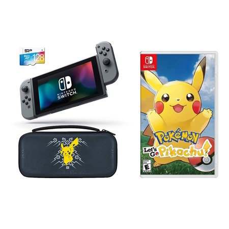Deluxe Starter Box (Nintendo Switch Pokemon Let's GO Pikachu Starter Bundle: Let's Go Pikachu, Deluxe Travel Case, 128GB SD Card and Nintendo Switch 32GB Gaming Console with Gray Joy-Con)