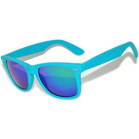 One Pair Retro Matte 80's Vintage Party Sunglasses Turquoise Frame Blue Lens - Turquoise Sunglasses