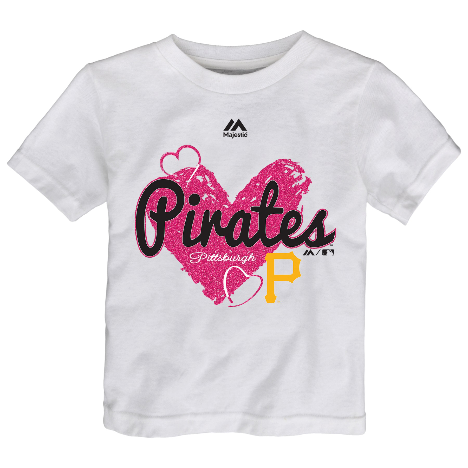 Pittsburgh Pirates Majestic Girls Toddler Triple Heart T-Shirt - White