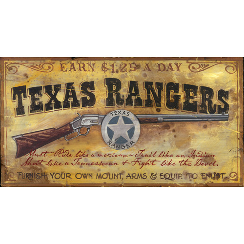 Red Horse Arts Texas Ranger Vintage Advertisement Plaque