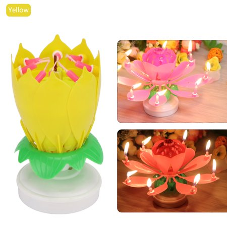 Lemonbest music birthday candles rotation lotus flower cake topper lemonbest music birthday candles rotation lotus flower cake topper party birthday candle light lamp gift with 8 candles walmart mightylinksfo