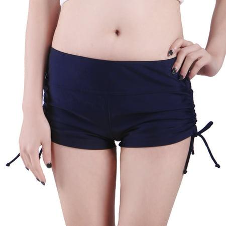 Women Swim Brief with Ties- Mini Boy Short Bikini Bottoms Swimsuit Separates (Navy Blue, XL) ()