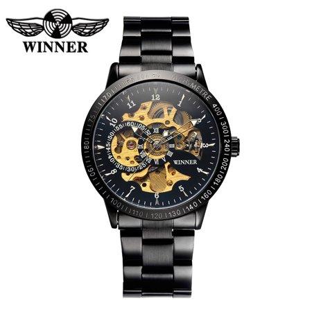 WINNER Luxury Brand Skeleton Semi Automatic Men Mechanical Watch Luminous Stainless Steel Hand-winding Business Man Wristwatch with 2 sub-dial (Luxury Automatic Skeleton)