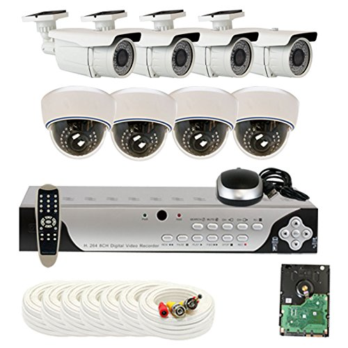 Best Sale High End Professional 8 Channel H.264 960H & D1 Realtime DVR Security Camera System with 8 x 1/3  SONY SUPER H