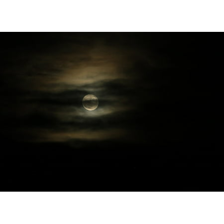 Laminated Poster Clouds Night Sky Lunar Moonlight Nature Full Moon Poster Print 11 x