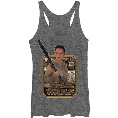 Star Wars Women's  Rey Classic Staff - Heather - Racerback Womens Tank Grey