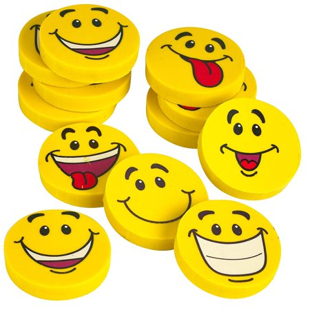 Large Smile Face Emoji Erasers - Pack Of 12 Assorted Emoticons Fun Smiley Eraser (Needed Eraser)