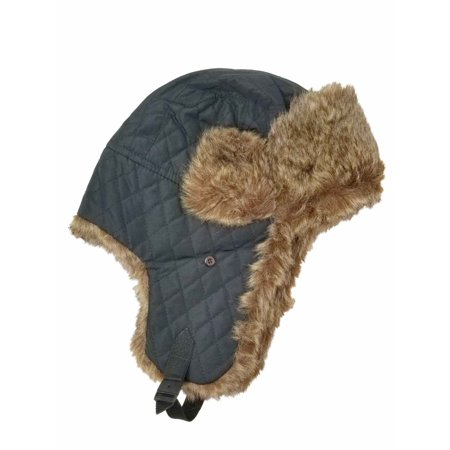 Men's CO Black Trapper with Faux Brown Fur Hunter Beanie Stocking Cap Hat (Mens Stocking Cap)