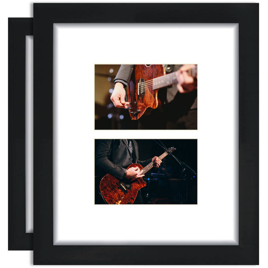 Craig Frames 10x12 Black Picture Frame, Single White Collage Mat with Two 4x6 Openings, Set of 2