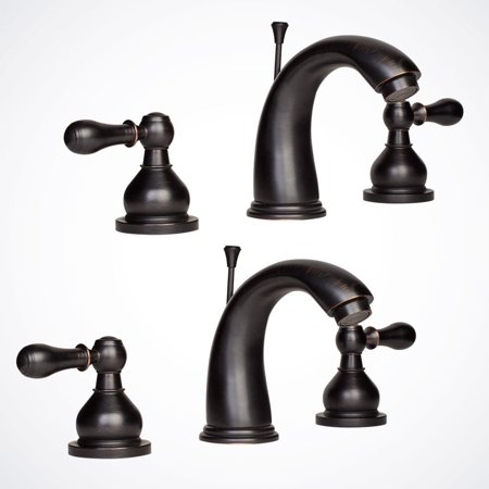GHP Set of 2 Roman Oil Rubbed Bronze Widespread Bath Sink Faucet w Pop-Up Drain ()