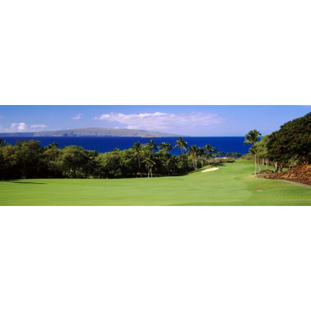 Golf course at the oceanside Wailea Golf Club Maui Hawaii USA Poster