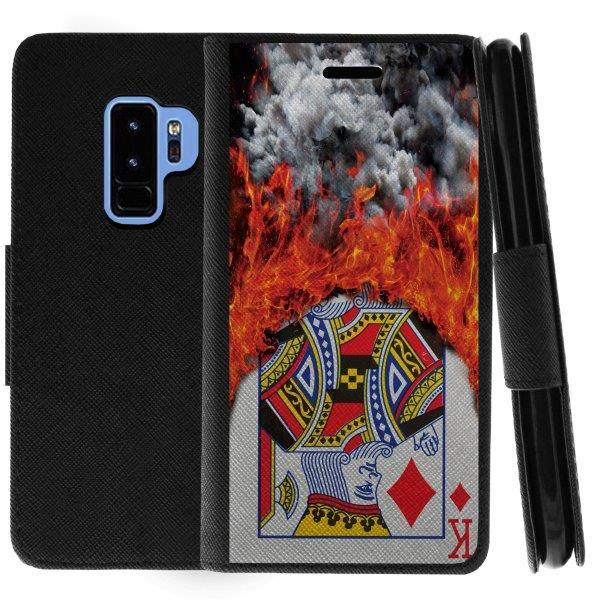 TurtleArmor ® | For Samsung Galaxy S9+ (Plus) G965 [Wallet Case] Leather Cover with Flip Kickstand and Card Slots - Burning Card