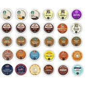 30 Pack - Variety Flavored Coffee Sampler K-Cup for Keurig K Cup Brewers and 2.0 brewers - From Top Brand Names Green Mountain, Folgers, Van Houtte, Gloria Jeans, Timothys and Starbucks