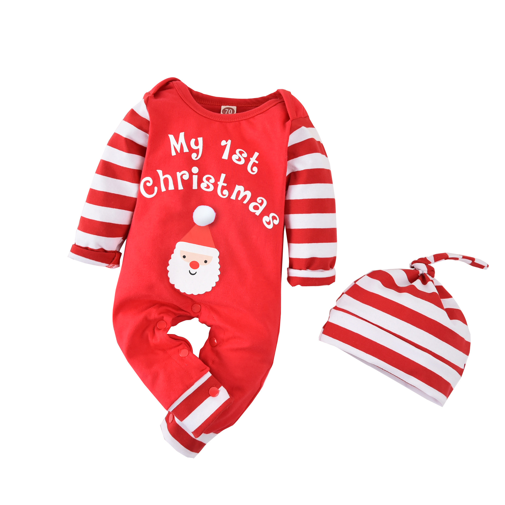My 1st Christmas Newborn Baby Girl Boy Long Sleeve Romper Jumpsuit Bodysuit with Christmas Hat Red Xmas Costumes Clothes