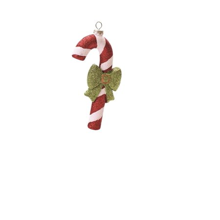 """5.5"""" Merry & Bright Red White and Green Glitter Shatterproof Candy Cane Christmas Ornament"""