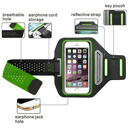 Alcatel A30,Alcatel Fierce XL,Alcatel Zip LTE Active Sports Armband  Universal Sport Running Armband Pouch For Workout + Key Holder - Green