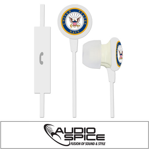 U.S. Navy Ignition Earbuds + Mic - White
