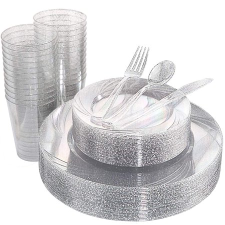Top Knobs Plastic Silverware, Disposable Plastic Glitter Cutlery include 100 Plastic Dinner Plates, 100 Plastic Salad Plates, 100 Plastic Cups 100 Plastic Forks, 100 Plastic Knives, 100 Plastic Spoons