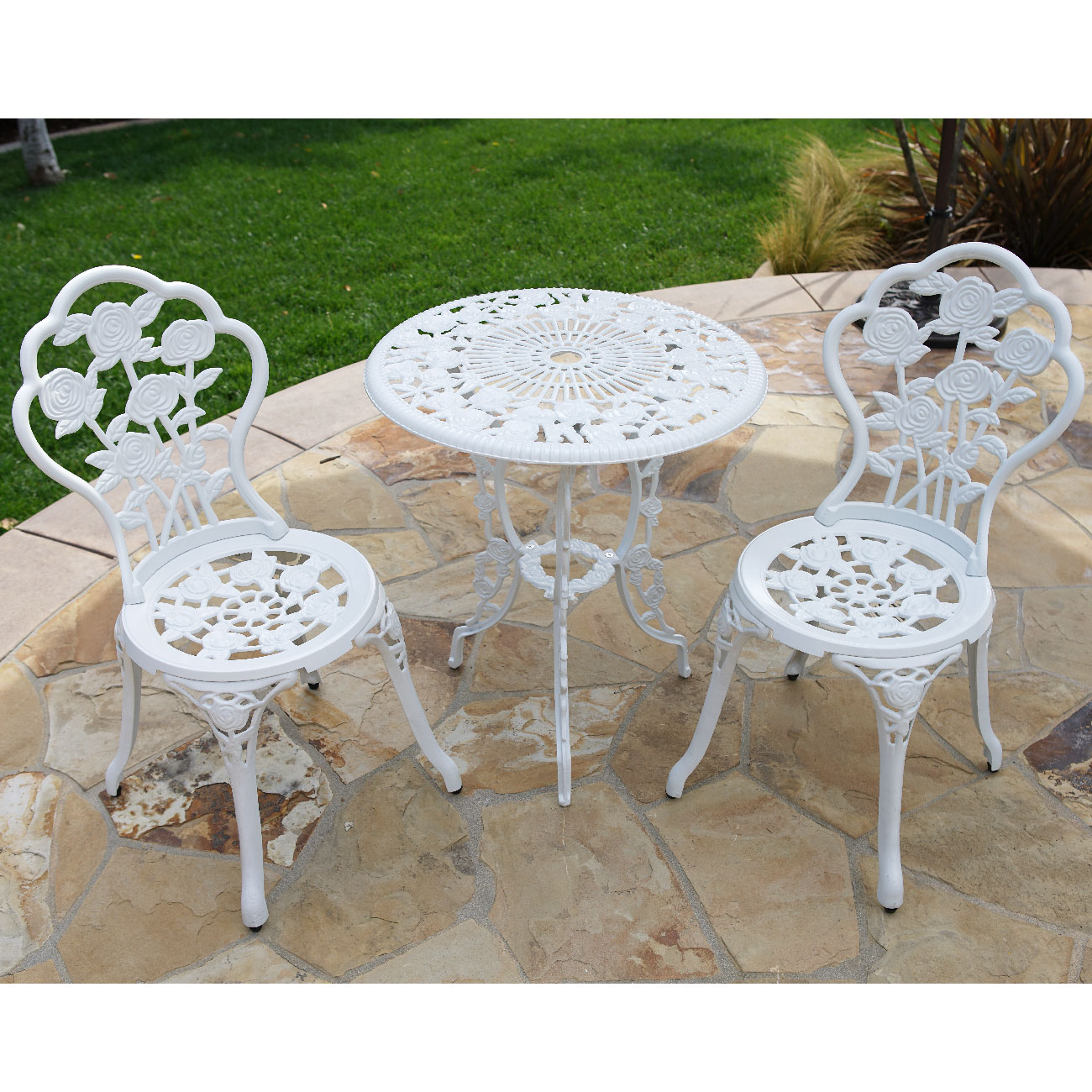 BELLEZZA Patio Furniture Cast Aluminum Tulip Design Bistro Set in Antique White by jet.com