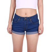 HDE Junior's Womens Mid Rise Stretchy Denim Jean Shorts (Blue, Small)