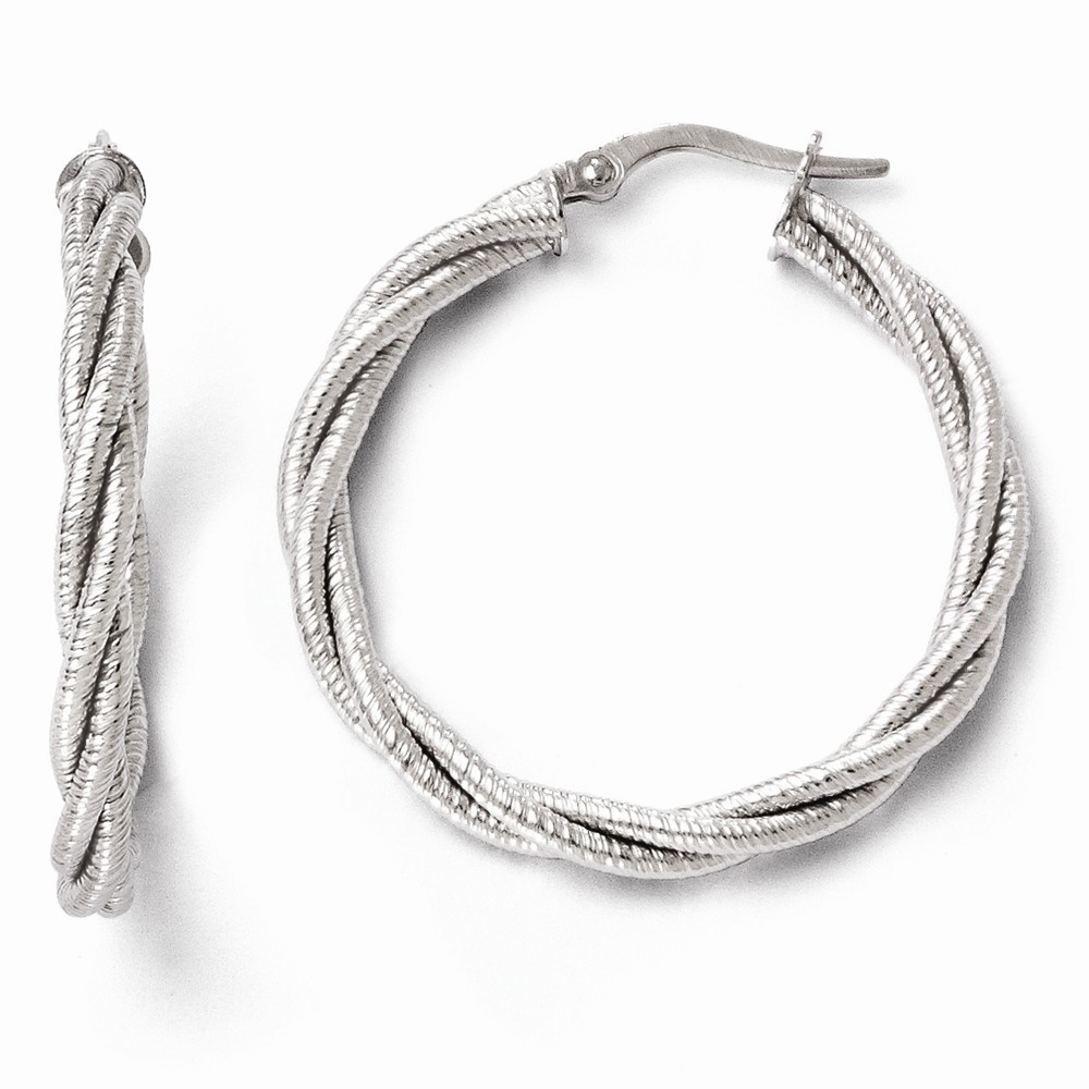 14k 3.50mm White Gold Twisted Triple Twist Hoop Earrings (1.2IN Diameter)