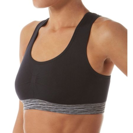 60458bb7badbf Women s Lily Of France 2151801 Reversible Medium-Impact Sports Bra (Black  Space Dye S