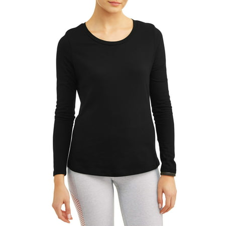 - Athletic Works Women's Core Active Crewneck Long Sleeve Side Slit T-Shirt