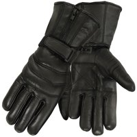 Mens Leather Motorcycle Glove for Cold Weather, Black
