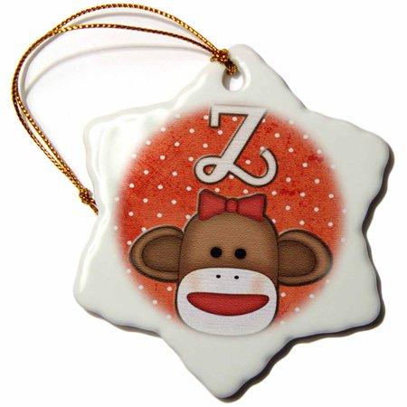 3dRose Cute Sock Monkey Girl Initial Letter Z, Snowflake Ornament, Porcelain, 3-inch