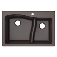"KRAUS Quarza™ 33"" Dual Mount 60/40 Double Bowl Granite Kitchen Sink in Brown"