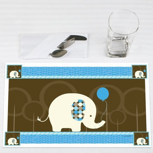Blue Elephant Party Placemats Set of 12 by Big Dot of Happiness, LLC