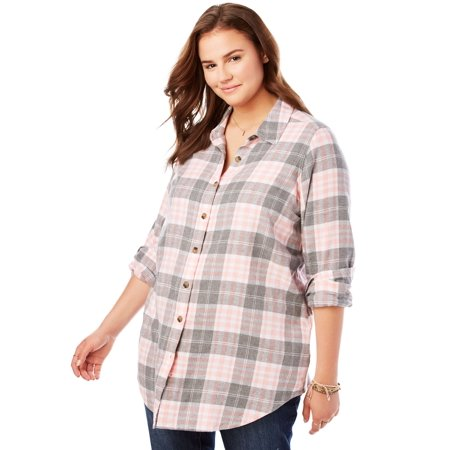 3df49d0873c Woman Within - Woman Within Plus Size Classic Flannel Shirt - Walmart.com