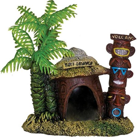 006062 Exotic Environments Betta Hut with Palm Tree, A miniature hut with a perfect little hiding place for your betta By Blue