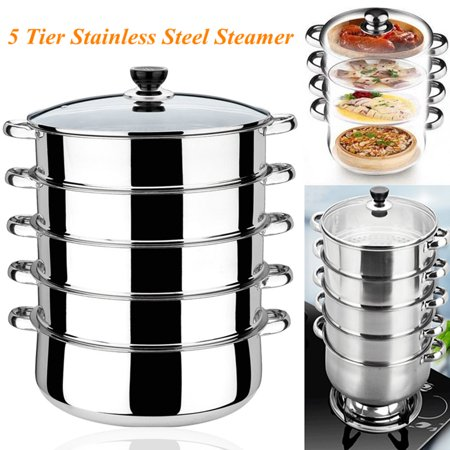 5 Tier Stainless Steel Steamer Pot Basket Metal Steaming Cookware for Crab Seafood Food Vegetable Bamboo,30x 41cm (3 Tier Steamer Stainless Steel)