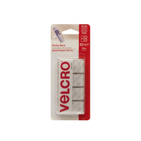 VELCRO Brand Sticky Back 7/8in Squares, White - 32 ct.