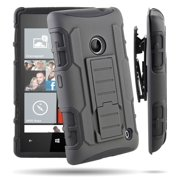 Lumia 520 Case, RANZ BLACK Rugged Impact Armor Hybrid Kickstand Cover with Belt Clip Holster Case For Nokia Lumia 520 (AT&T)