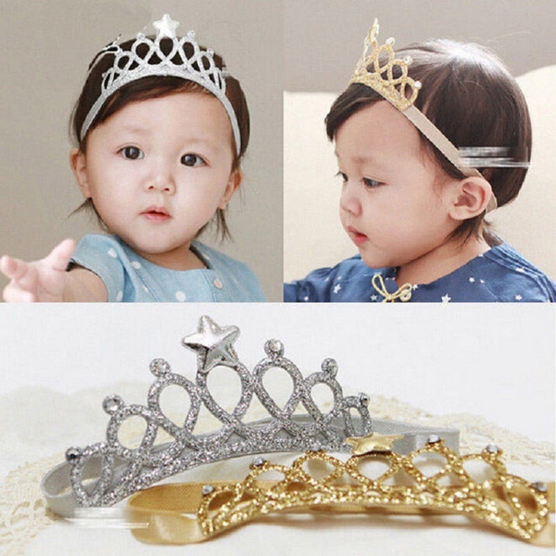 Kids Baby Girls Glittery Princess Crown Tiara Hair Clip Birthday Party Accessory