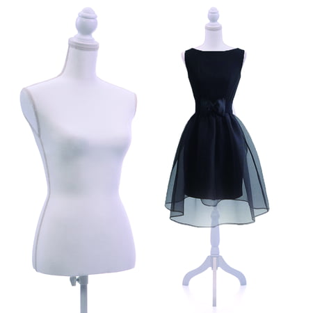 Jaxpety White Female Mannequin Torso Dress Clothing Form Display Sewing Mannequin W/ Tripod Stand New ()