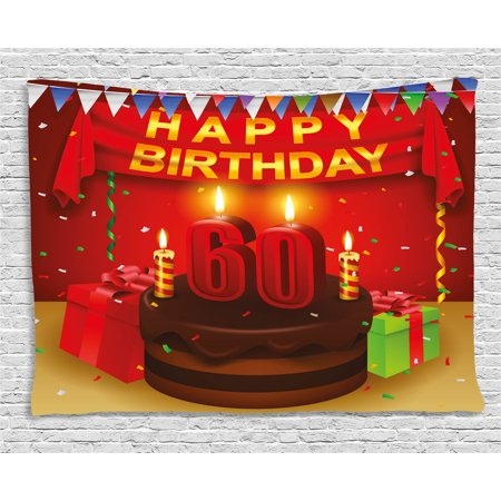 - 60th Birthday Decorations Tapestry, Festive Party Theme Show Inspired Curtains Cakes Box Art Print, Wall Hanging for Bedroom Living Room Dorm Decor, 60W X 40L Inches, Multicolor, by Ambesonne