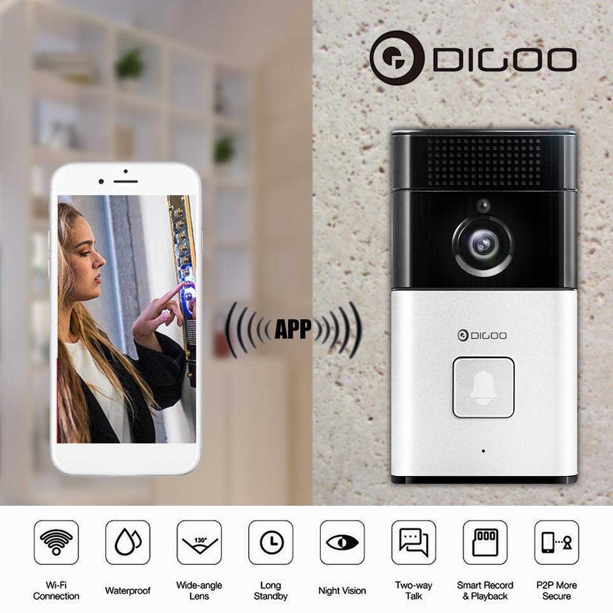 DIGOO Wireless Wifi Video Doorbell Smart Home Night Visual Video Door Bell Security 720P Camera Free APP Control Intercom Alarm Clear