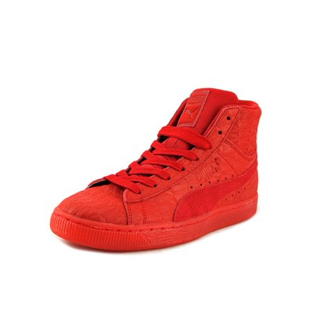 low priced 28355 ef222 Puma Suede Mid ME Iced Men Round Toe Leather Red Sneakers