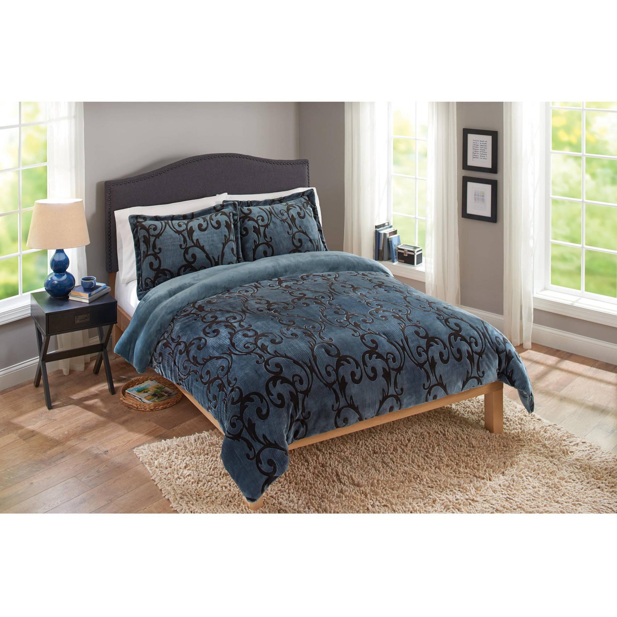 Provence Velvet Plush Print Bedding Comforter Mini Set