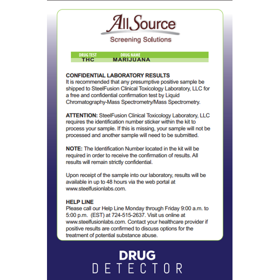(1 Pack) AllSource Drug Detector Home Marijuana Drug Test